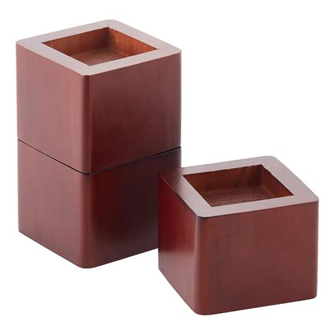 risers for bed set of 4 walnut solid wood bed risers the container store