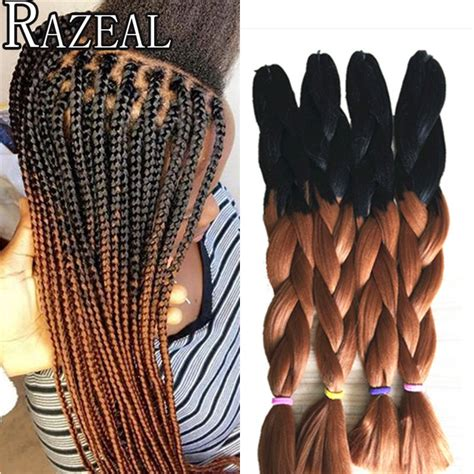 ombre box braiding hair razeal 24 quot 100g crochet braids hair extension ombre black