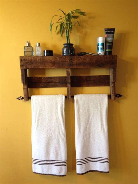 rustic pallet towel rack shelf bathroom