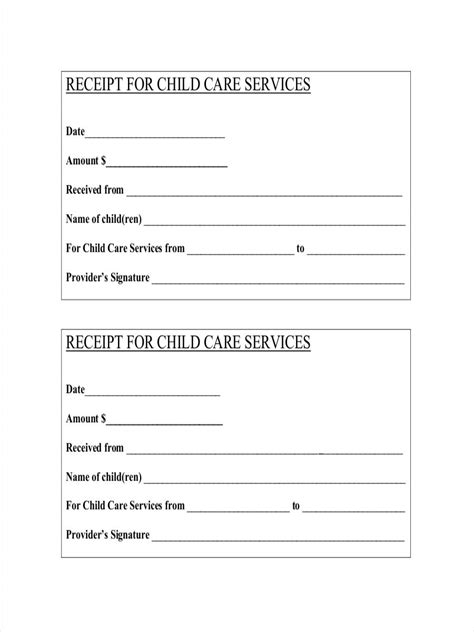 babysitting receipt template child care receipt template daycare baby bill forms