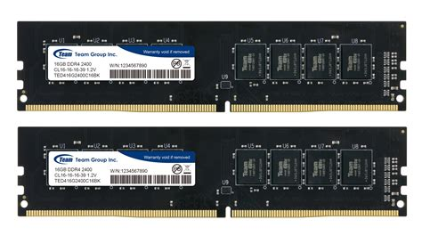 Ram Pc Team Elite Ddr4 4gb 2400 1 2v 32gb team elite ddr4 2400mhz pc4 19200 cl16 dual channel memory kit 2x 16gb 1 2v
