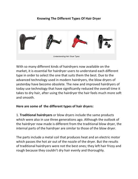 Different Hair Dryer Attachments knowing the different types of hair dryer