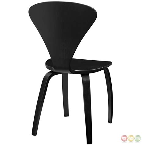 Vortex Contemporary Molded Wood Panel Dining Side Chair Black Contemporary Black Dining Chairs