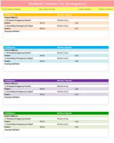 Project Contact List Template Students Contact List Template Emergency Dotxes