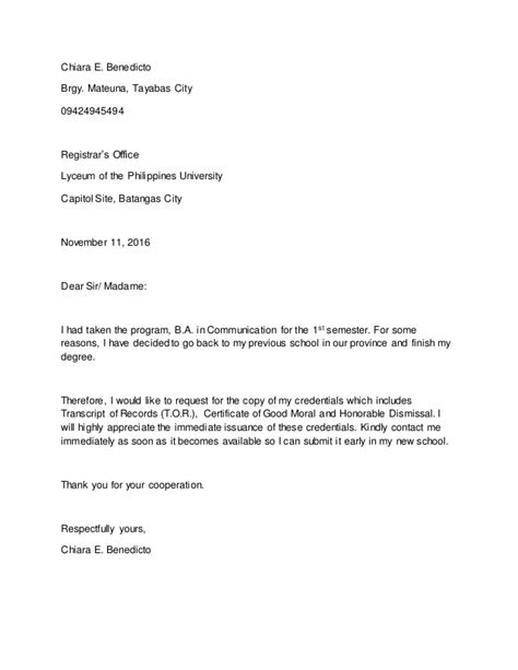 Authorization Letter Honorable Dismissal honorable dismissal letter sle chiara e benedicto brgy