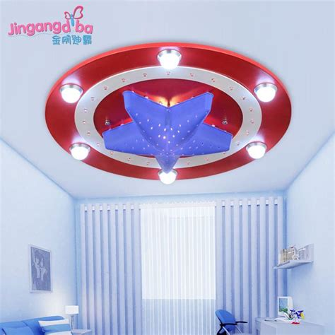 Boys Bedroom Light Fixtures 2017 Captain America Creative Room Ceiling L Led Lighting Boys And