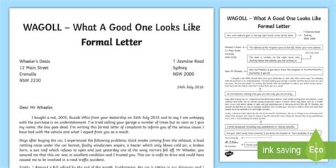 wagoll formal letter writing sample english text types