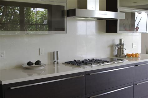 White Kitchen Tile Backsplash Ideas by White Quartz Contemporary Kitchen Santa Barbara By