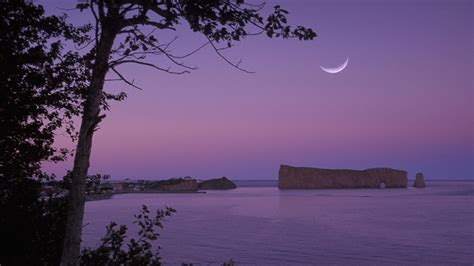 full hd wallpaper ocean violet evening moon providence usa