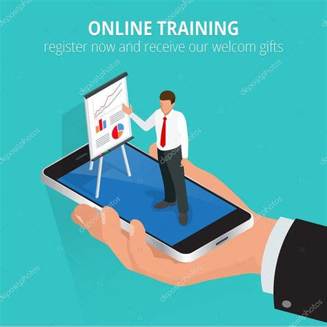 online tutorial of html education concept online training flat isometric design