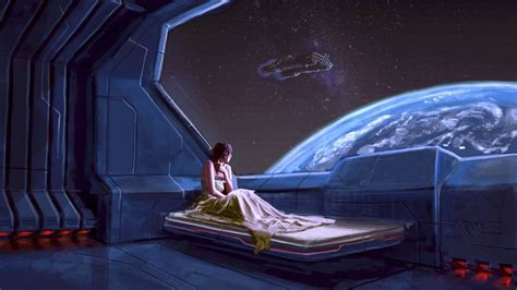 spaceship bed beds illustrations outer space planets science fiction