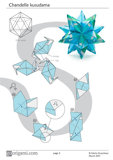 Origami Modular Diagrams - chandelle kusudama by sinayskaya diagram