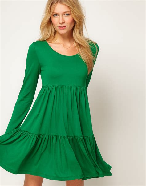 green swing dress asos collection asos swing dress with tier detail in green