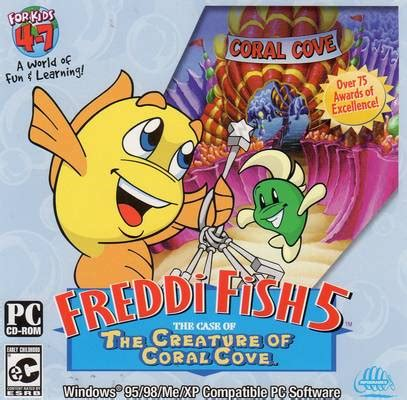 fish computer game cartoon freddi fish 5 the case of the creature of coral cave cd