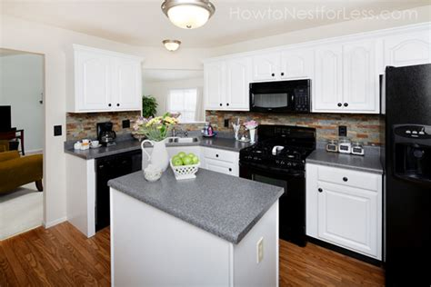Kitchen White Cabinets Black Appliances Kitchen Cabinet Makeover Reveal How To Nest For Less