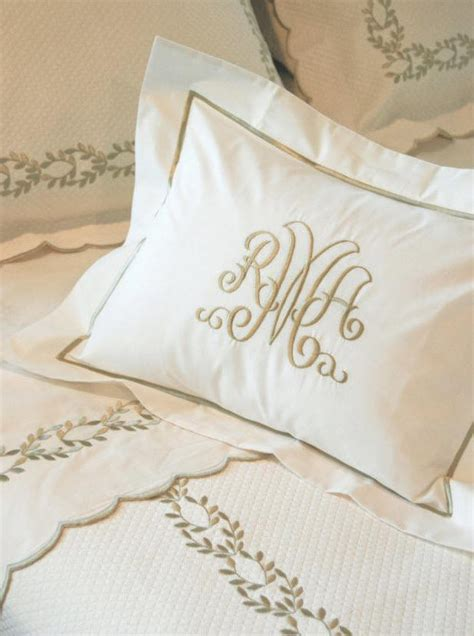 monogrammed coverlet camilla custom embroidered bed linens