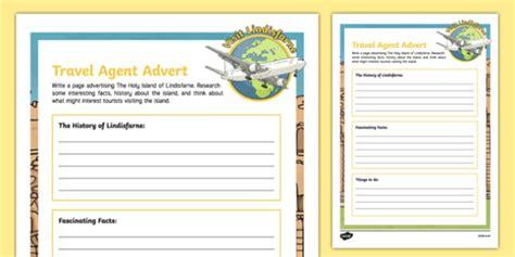 brochure template ks1 lindisfarne travel agent writing worksheet activity sheet