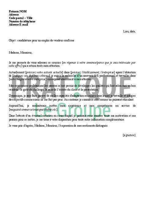 Lettre De Motivation Candidature Vendeuse Lettre De Candidature Pour Un Emploi De Vendeur Confirm 233 Pratique Fr