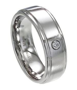 Cincin Single Pholised Ring white tungsten s wedding band polished with single cz 8mm