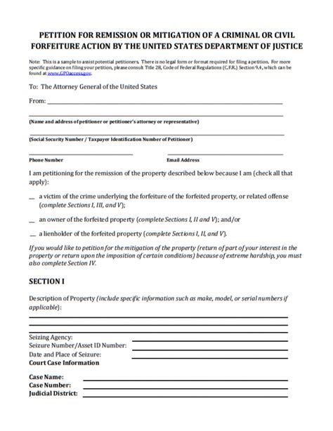 forfeiture notice template 13 printable petition template exles templates assistant