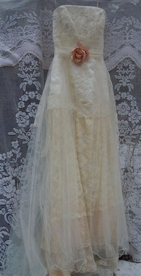 Vintage Opulence boho wedding dress tiered lace vintage tulle beaded outdoor small by vintage