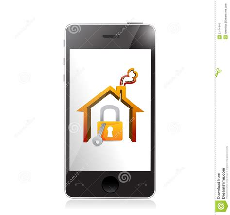 smartphone and home security concept illustration stock