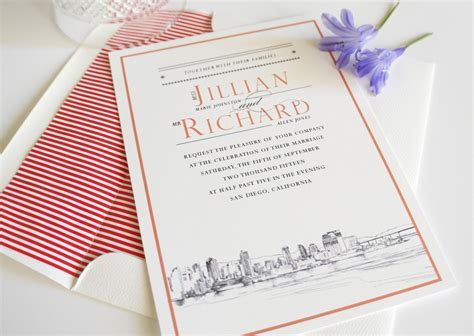 San Diego Skyline Wedding Invitations