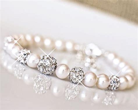 Wedding Jewellery by Freshwater Pearl Rhinestone Wedding Bracelet Bridal