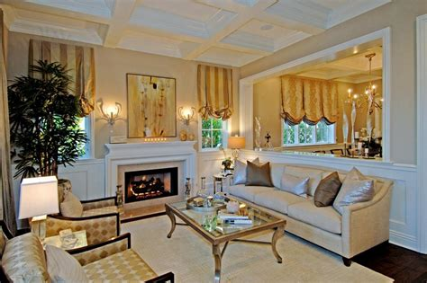 traditional neutral living room with metallic accents and