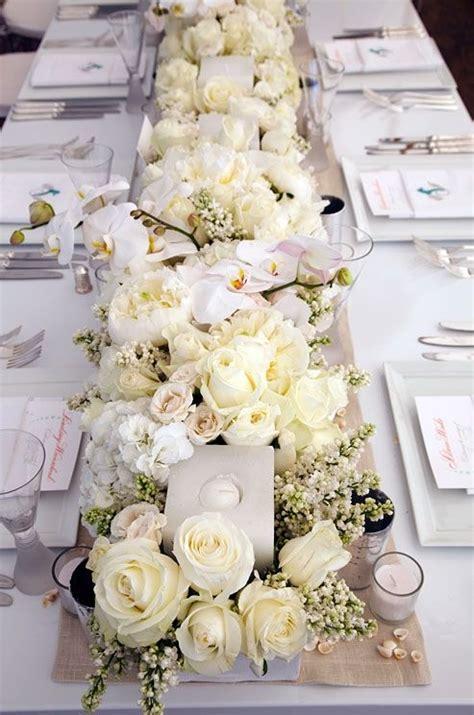 fresh flower table runner table runner of white fresh flowers wedding florals
