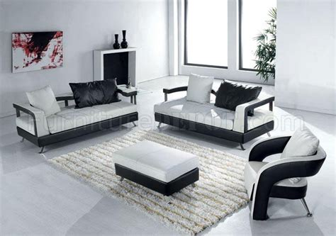 contemporary livingroom furniture black and white leather ultra modern 4pc living room set