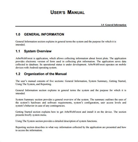 user guide word template sle user manual 9 documents in pdf