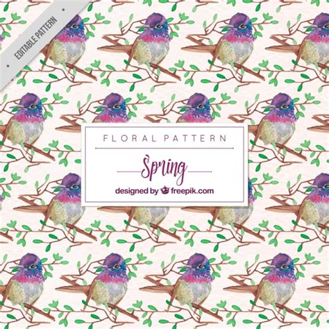watercolor floral pattern vector free download floral pattern of cute watercolor birds vector free download