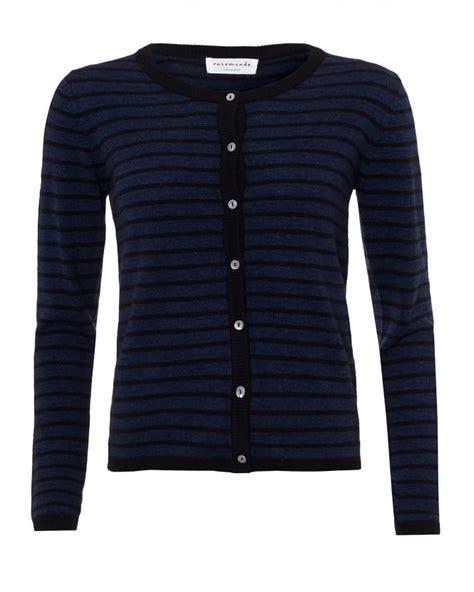 Black Stripe Pom Cardigan Sml 17087 rosemunde womens laica cardigan navy black stripe