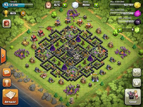 coc map layout th9 my new th9 farming layout