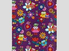 Purple Owl Fabric