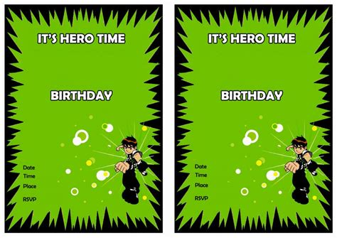 Ben 10 Birthday Invitations Birthday Printable Ben 10 Birthday Invitation Cards Templates