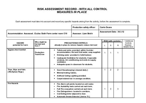 student risk assessment template risk assessment c19