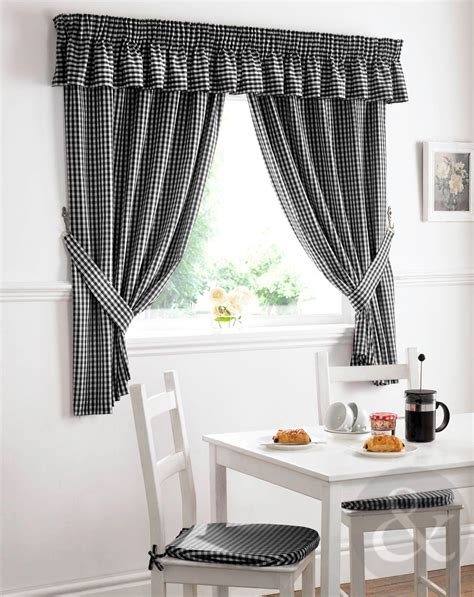 Gingham Check Kitchen Curtains Ready Made Pencil Pleat Net Black And Silver Kitchen Curtains