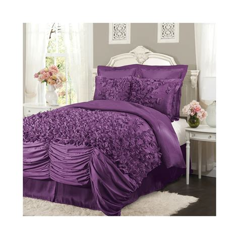 lush lucia purple ruffled king size 4 piece comforter set