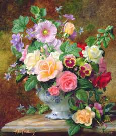 albert williams roses pansies and other flowers in a vase