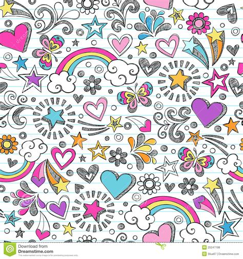doodle pattern school sketchy school doodles heart and stars pattern royalty