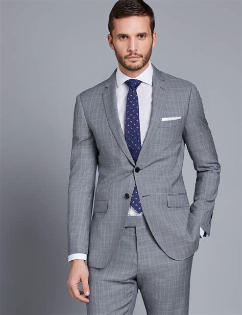 light blue mens slim fit s grey light blue small check slim fit suit hawes