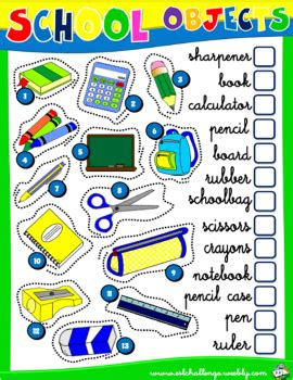 school objects matching b w worksheets kola pinterest school objects worksheet 1 english with games 1