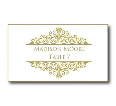 Damask Place Card Template by Gold Wedding Place Card Template Instant