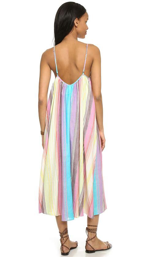 Striped Tank Dress lyst mara hoffman striped tank dress rainbow stripe