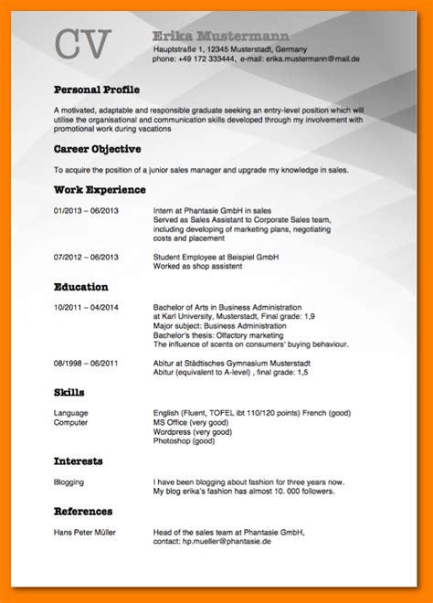 Lebenslauf Englisch Muster Doc 5 Lebenslauf Englisch Vorlage Resignation Format
