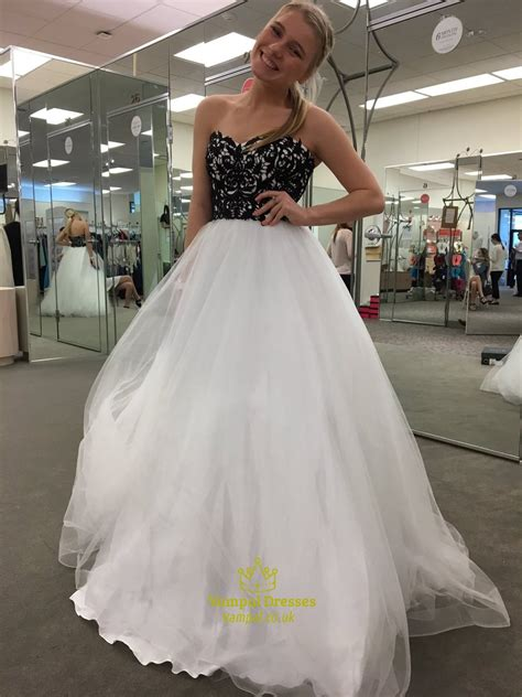 White Gown Tulle white strapless lace embellished top tulle gown prom