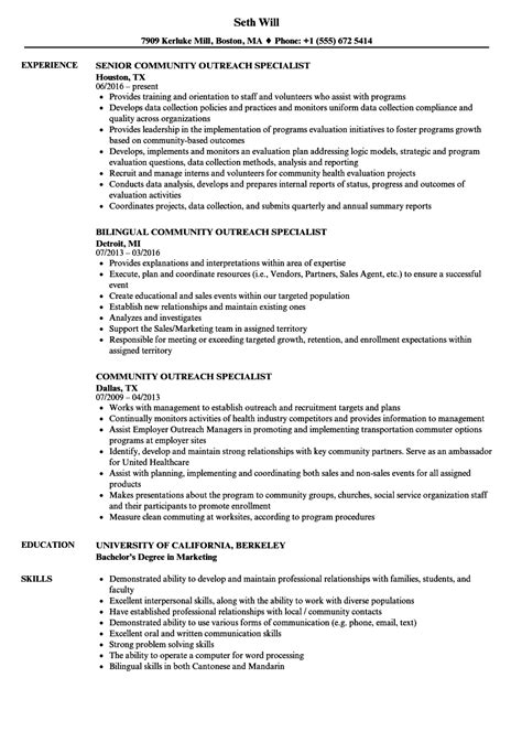 Community Outreach Specialist Sle Resume by Community Outreach Specialist Resume Visual Merchandiser Sle Resume Computer Science Resumes