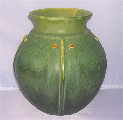 Door Pottery door pottery arts crafts matte green prairie globe vase